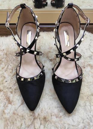 Мегакрутые черные туфли босоножки лодочки в стиле valentino с ...