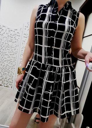 Платье стильное  черно белое классика летнее модное пышное нар...