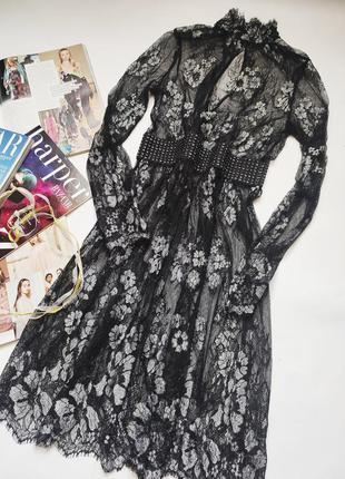 Эксклюзивное прозрачное платье с актуальным горлом с красивым ...