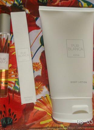 Женский подарочный набор 2шт Avon Pur Blanca духи шариковые лосьо