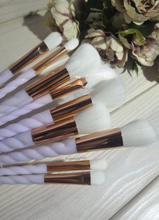 -30% скидка! 10 шт кисти для макияжа единорог white/gold probe...
