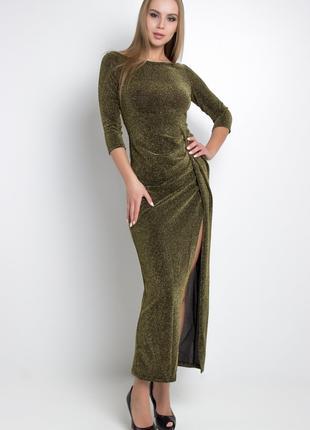 Платье длинное в пол вечернее нарядное оливкового цвета с люриксо