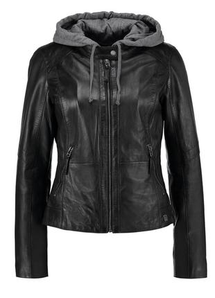 Новая кожаная куртка трансформер с отстегивающимся капюшоном o...
