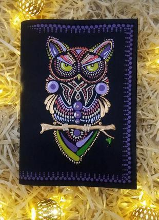 Обложка кожаная на паспорт ручная роспись. дропшиппинг