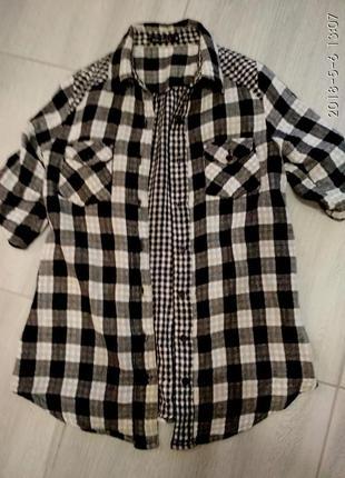 Стильная рубашечка в клеточку с карманчиками 46-48 р.