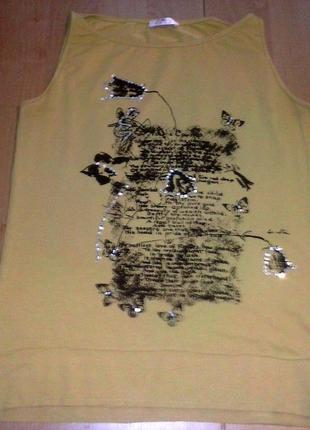 Классная футболка горчичного цвета турция 46-48р.
