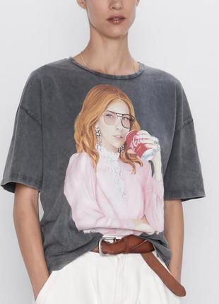 Хит продаж! футболка zara с принтом ® coca-cola