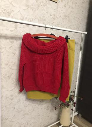 Красный объемный вязаный свитер new look, новый!