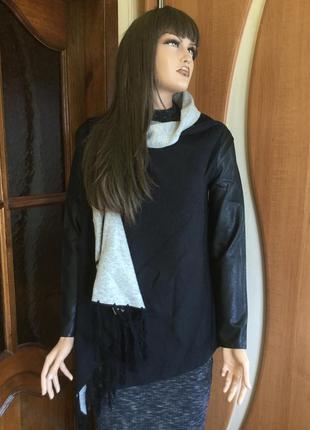 Распродажа!!! кардиган с кожаными рукавами размер s