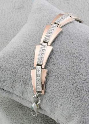 Серебряный браслет серебро с золотой пластиной