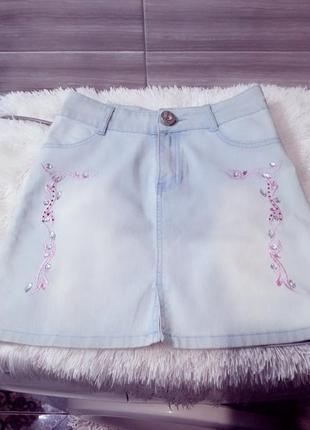"""Милейшая коттоновая юбка с завышенной талией ,""""iceberg jeans""""!"""