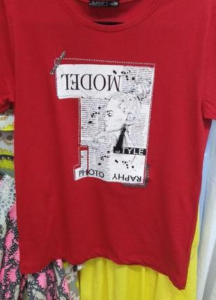 Красная хлопковая футболка с принтом!!!полубатал!