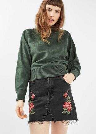 Тотальная распродажа! джинсовая юбка с вышивкой и бахромой