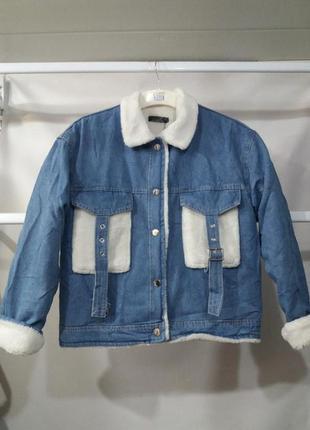 Женская джинсовая утепленная куртка