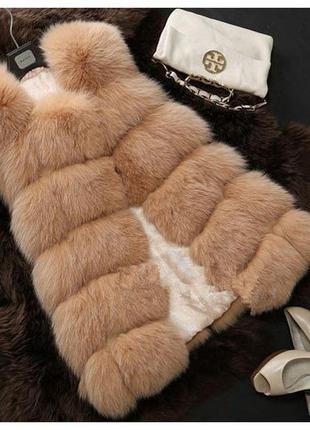 Женская меховая жилеткаженская меховая жилетка из искусственно...