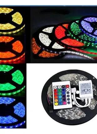 Светодиодная лента RGB 5 м, разноцветная, блок питания, пульт. LE