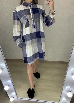 Качественное байковое домашнее платье-рубашка sleep in
