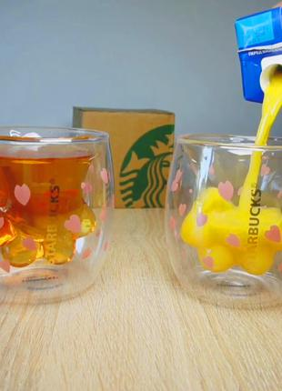 Starbucks. Чашка с двойным стеклом Старбакс кошачья лапка.