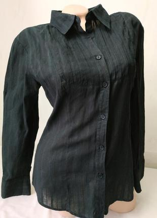 Рубашка черная в полоску хлопок