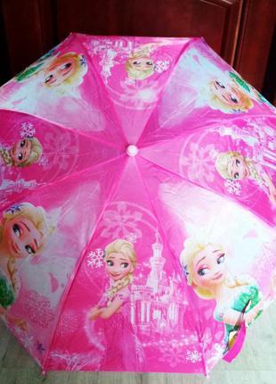 Складной зонтик для девочек 5-9 лет холодное сердце