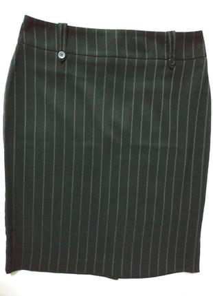 Юбка классическая костюмная черная в полоску today's woman