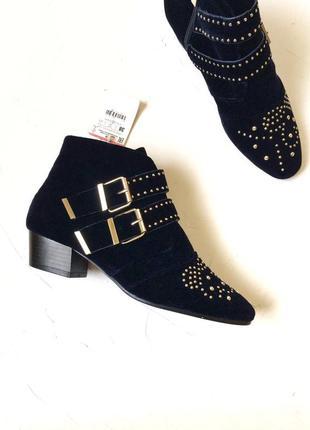 Бархатные ботинки stradivarius, ковбойские сапоги, под chloe s...
