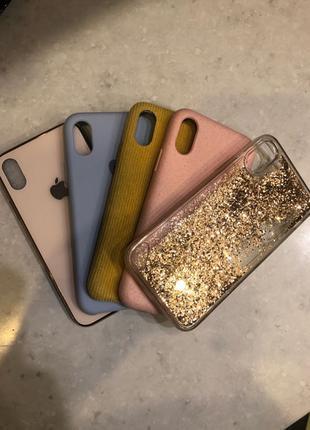 Чехлы на айфон х case iPhone X 5 штук Розовый, под айфон XS, голу