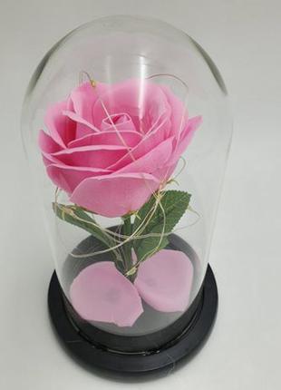 Роза в колбе с LED подсветкой 20 см романтический подарок ночник