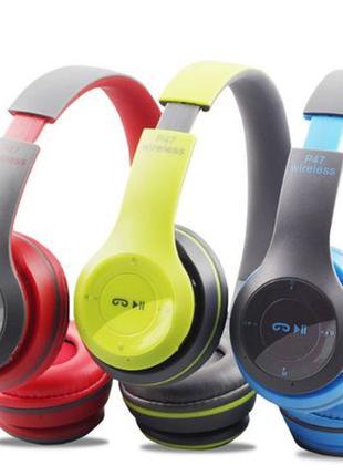 Беспроводные Блютуз наушники P47 с Радио и MP3 плеером FM Blue...