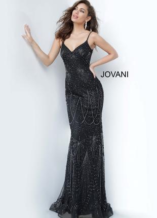 Черное платье из бисера Jovani