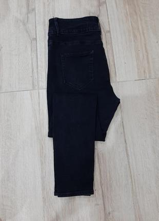 Черные джинсы скини деним зауженные высокая посадка