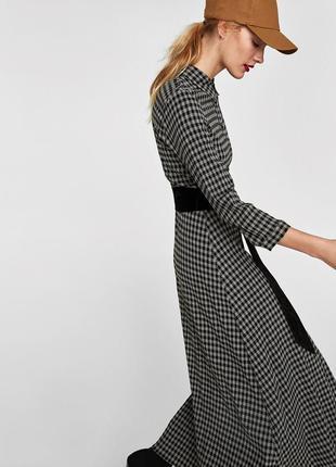 Длинное платье рубашка,халат в клеточку,кэжуал,zara
