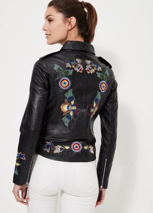 Новая кожаная куртка с вышивкой isaco, италия. кожаная косуха ...