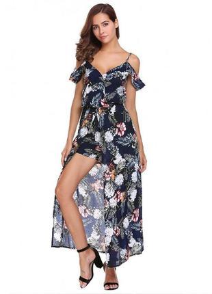 Платье макси в стиле boho + ромпер 2в 1