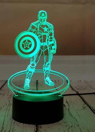 Ночник 3D светильник «Капитан Америка» 3D Creative