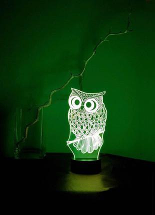 Ночник 3D светильник «Сова» 3D Creative