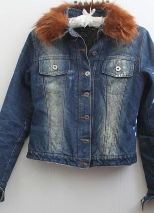 Джинсовая курточка пиджак джинсовка на утеплителе с натуральны...