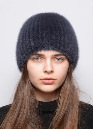 Женская зимняя норковая шапка на вязаной основе шарик коса син...
