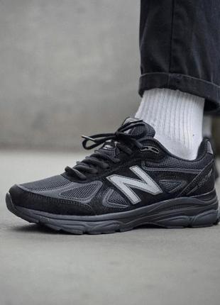 Мужские кроссовки нью беленс/баланс чёрные new balance 990 black