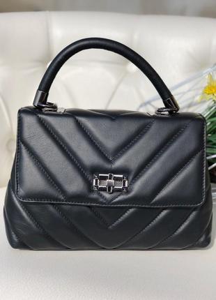 Кожаная стёганая сумка-портфель новая коллекция