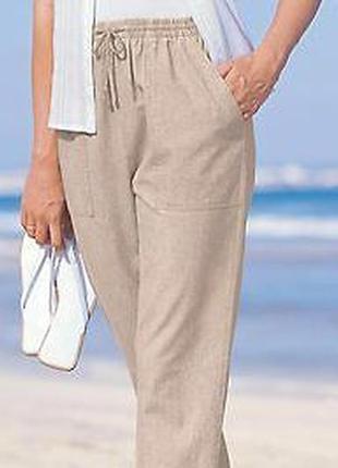 Классные котоновые укороченные нюдовые брюки спортивного типа ...