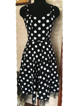 Натуральное платье в горошек