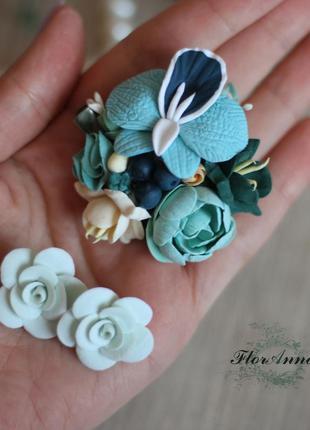 Комплект украшений с цветами из полимерной глины «мятные тропи...