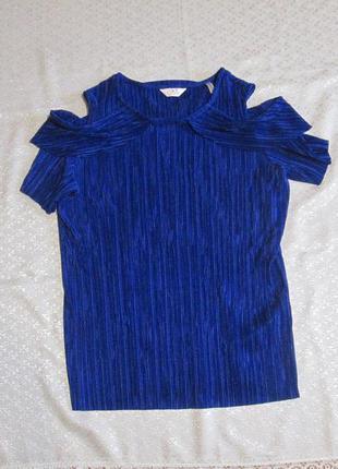 Блузка синяя гофре, микропллиссе, плиссировка с открытыми плечами