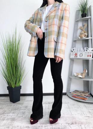 Винтажный пиджак в клетку винтаж шерсть шерстяной fabiani
