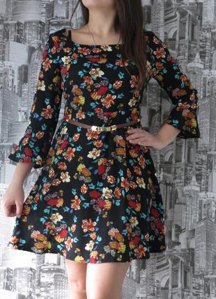 Платье с рукавом в цветах размер 48 модная одежда, доступные ц...