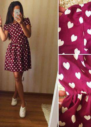 Платье  в сердечки