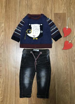 Крутой набор джинсы и кофта свитер nutmeg 3-6 мес