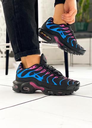 Nike air max tn black blue violet, женские кроссовки найк