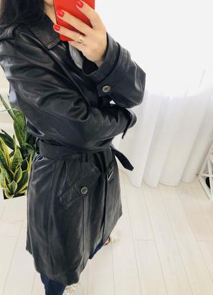 Кожаный тренч пальто из натуральной кожи брендовый mauritius